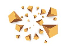 Yellow realistic triangles and golden light effects. 3D effect.motion of flying triangles. Vector illustration.For cover. Book, brochure, flyer, poster royalty free illustration