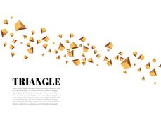 Yellow realistic triangles and golden light effects. 3D effect.motion of flying triangles. Vector illustration.For cover. Book, brochure, flyer, poster stock illustration