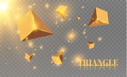 Yellow realistic triangles and golden light effects. 3D effect.motion of flying triangles. Vector illustration.For cover. Book, brochure, flyer, poster vector illustration