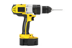 Yellow Rechargeable and Cordless Drill. 3d Rendering. Yellow Rechargeable and Cordless Drill on a white background. 3d Rendering Stock Photo