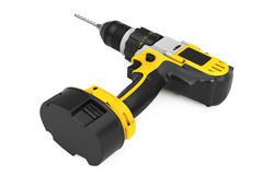 Yellow Rechargeable and Cordless Drill. 3d Rendering. Yellow Rechargeable and Cordless Drill on a white background. 3d Rendering Stock Photography