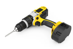 Yellow Rechargeable and Cordless Drill. 3d Rendering. Yellow Rechargeable and Cordless Drill on a white background. 3d Rendering Royalty Free Stock Photos