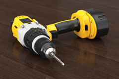 Yellow Rechargeable and Cordless Drill. 3d Rendering Royalty Free Stock Image