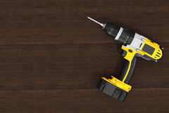 Yellow Rechargeable and Cordless Drill. 3d Rendering Royalty Free Stock Photo