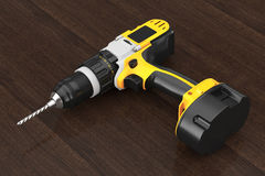 Yellow Rechargeable and Cordless Drill. 3d Rendering Royalty Free Stock Photos