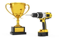 Yellow Rechargeable and Cordless Drill with Golden Trophy. 3d Re Stock Photos