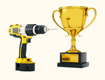 Yellow Rechargeable and Cordless Drill with Golden Trophy. 3d Re. Yellow Rechargeable and Cordless Drill with Golden Trophy on a white background. 3d Rendering Royalty Free Stock Photo