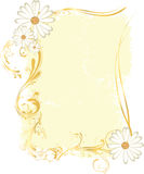 Yellow Rectangular Frame with Flowery Ornaments Stock Image