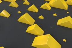 Yellow rectangular shapes of random size on black background. Wall of cubes. Abstract background. 3D rendering illustration Royalty Free Stock Image