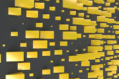 Yellow rectangular shapes of random size on black background. Wall of cubes. Abstract background. 3D rendering illustration Stock Photos