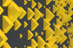 Yellow rectangular shapes of random size on black background. Wall of cubes. Abstract background. 3D rendering illustration Stock Images