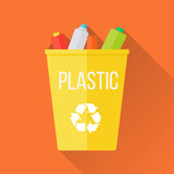 Yellow Recycle Garbage Bin with Plastic. Reuse or reduce symbol. Plastic recycle trash can. Trash can icon in flat. Waste recycling. Environmental protection royalty free illustration