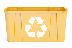 Yellow recycling bin, 3D rendering. On white background Royalty Free Stock Photography