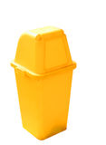 Yellow recycling bin isolated clipping path. Stock Image