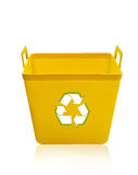Yellow recycling bin. Isolated on white background Royalty Free Stock Image