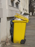 Yellow Recycling bin Stock Photo
