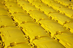 Yellow Recycling Bins. A collection of yellow recycling refuse bins, London, England Stock Photography