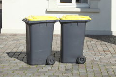 Yellow Recycling  Bins Royalty Free Stock Photos