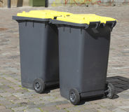 Yellow Recycling  Bins Stock Images
