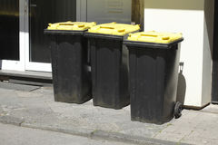 Yellow Recycling  Bins Stock Photography