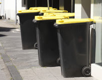 Yellow Recycling  Bins Royalty Free Stock Photography