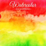 Yellow-red abstract hand drawn watercolor background, vector illustration, stain watercolors colors wet on wet paper. Watercolor c. Omposition for scrapbook Stock Photo