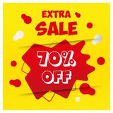 Yellow red abstract 10% off extra sale banner template design. Big sale special offer. Special offer banner for poster, flyer, vector illustration