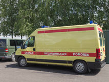 Yellow-red ambulances Stock Images