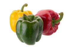 Free Yellow Red And Green Pepper Shooted Isolated On A White Backgrou Royalty Free Stock Photos - 100045948