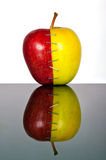 Yellow and red apple halves Royalty Free Stock Images