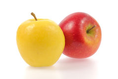Yellow and red apples. Isolated on white background royalty free stock photos
