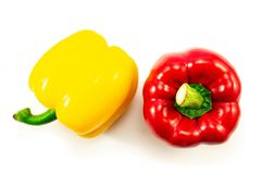 Yellow,red bell pepper top view isolated on white background.  stock photography