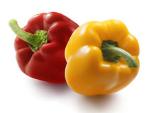 Yellow and red bell pepper  on white background Stock Image