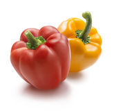 Yellow and red bell pepper   on white background Royalty Free Stock Image