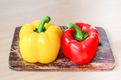Yellow and red bell peppers (Sweet pepper or capsicum) Royalty Free Stock Image
