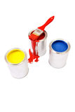 Yellow, red, blue. Paint cans isolated on white background Royalty Free Stock Images