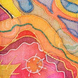 Yellow, red, blue abstract pattern on silk batik Stock Images