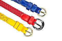 Yellow, red, blue belt group isolated Stock Images