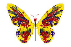Yellow red blue paint painted butterfly Stock Photo