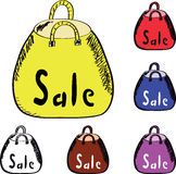 Yellow, red, blue and transparent shopping bag Royalty Free Stock Photos
