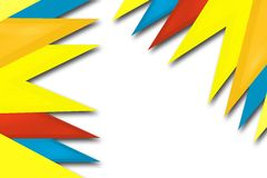 Yellow, red and blue triangle overlap, abstract background Stock Images