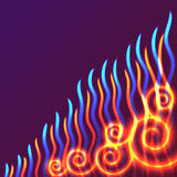 Yellow, red and blue waves of flame. Vector background, bright design element with space for text Royalty Free Stock Image