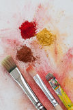 Yellow, red and brown art pigments Royalty Free Stock Photo