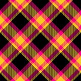 Yellow red brown checkered pattern diagonally oriented seamless tile. Vivid colors checkered pattern diagonally oriented seamless tile Stock Photography