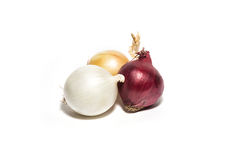 Yellow, red and bulb onion isolated on white. Different kinds Royalty Free Stock Photo
