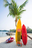Yellow and red canoeing on the beach Stock Photos