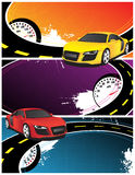 Yellow and red car. On the abstract background Stock Photo