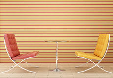 Yellow and red chair. Yellow chair a red chair and a glass table Stock Photography