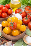 Yellow and red cherry tomatoes and spices Royalty Free Stock Images