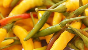 Yellow and red chili peppers closeup. HD 1080 static: bunch of red and yellow chili peppers at rotating stand; closeup stock footage